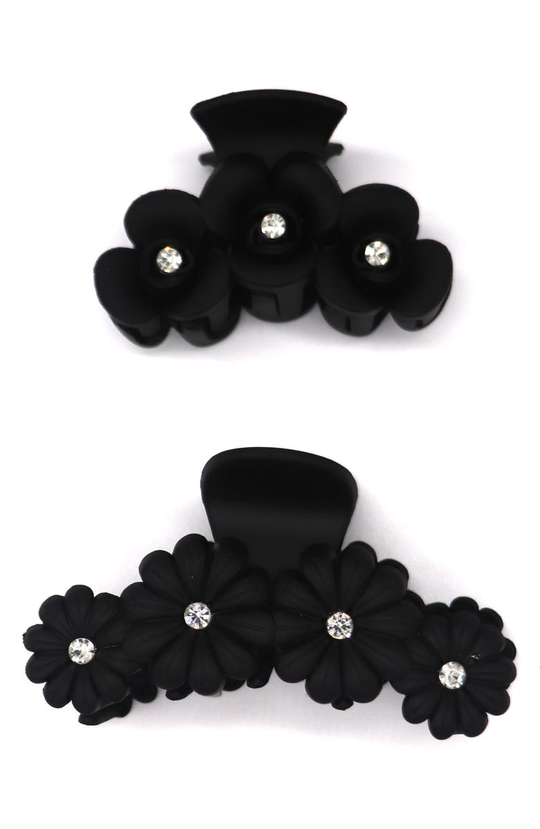 TASHA 2-Pack Crystal Flower Jaw Hair Clips, Main, color, BLACK