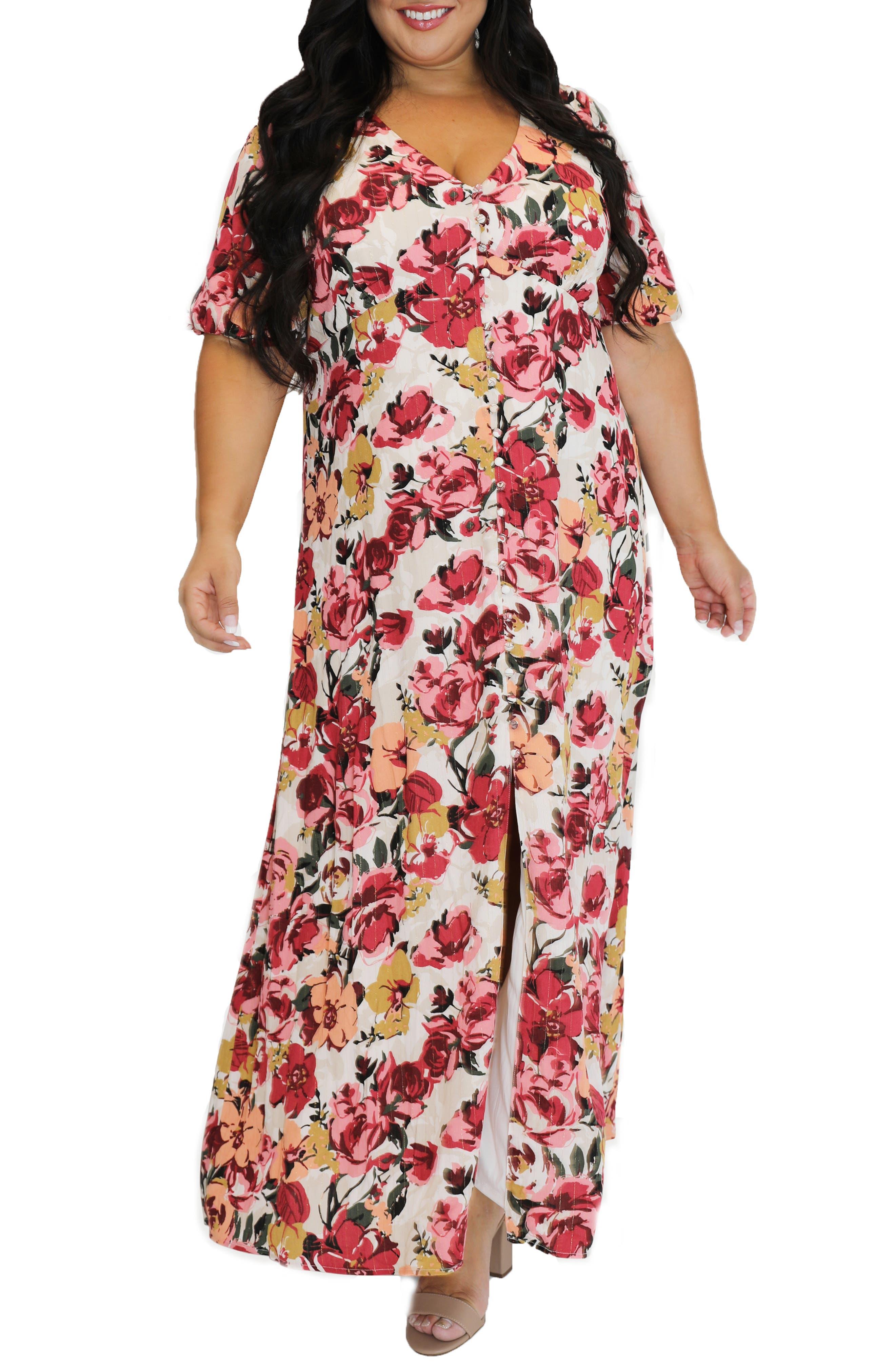 Floral Metallic Stripe Peasant Bodice Dress