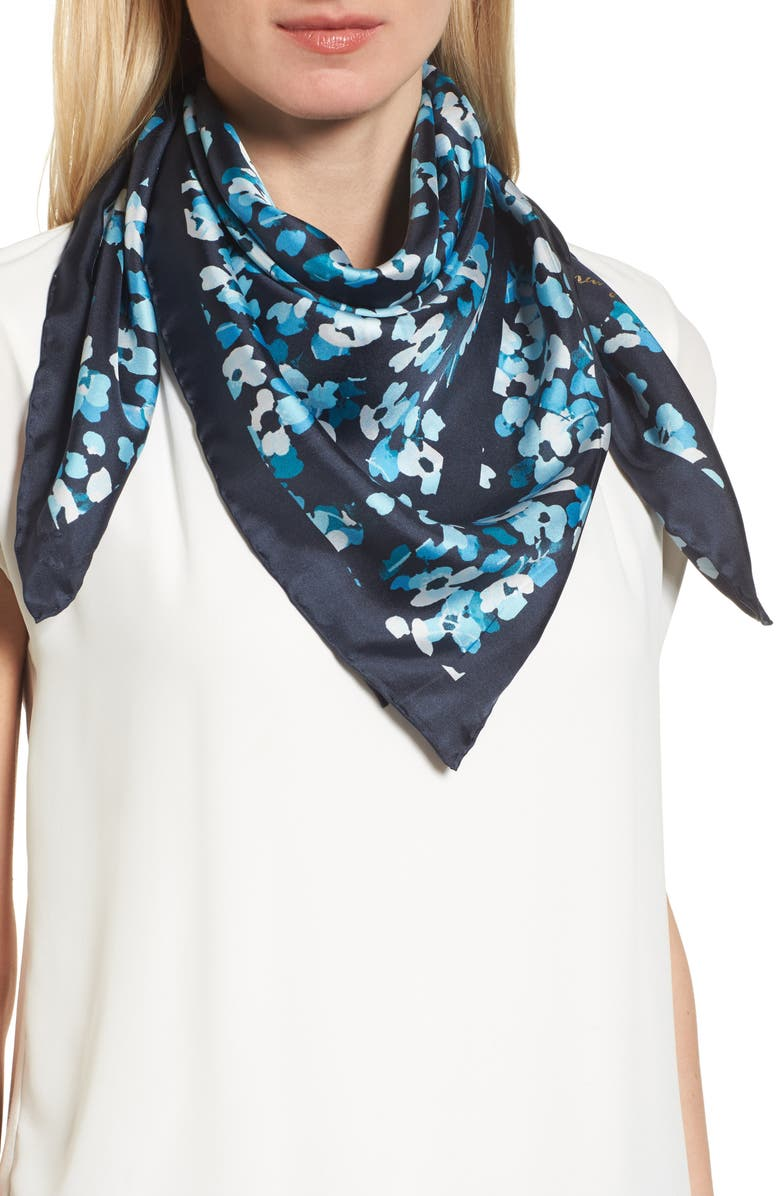 KATE SPADE NEW YORK scenic floral square silk scarf, Main, color, 400
