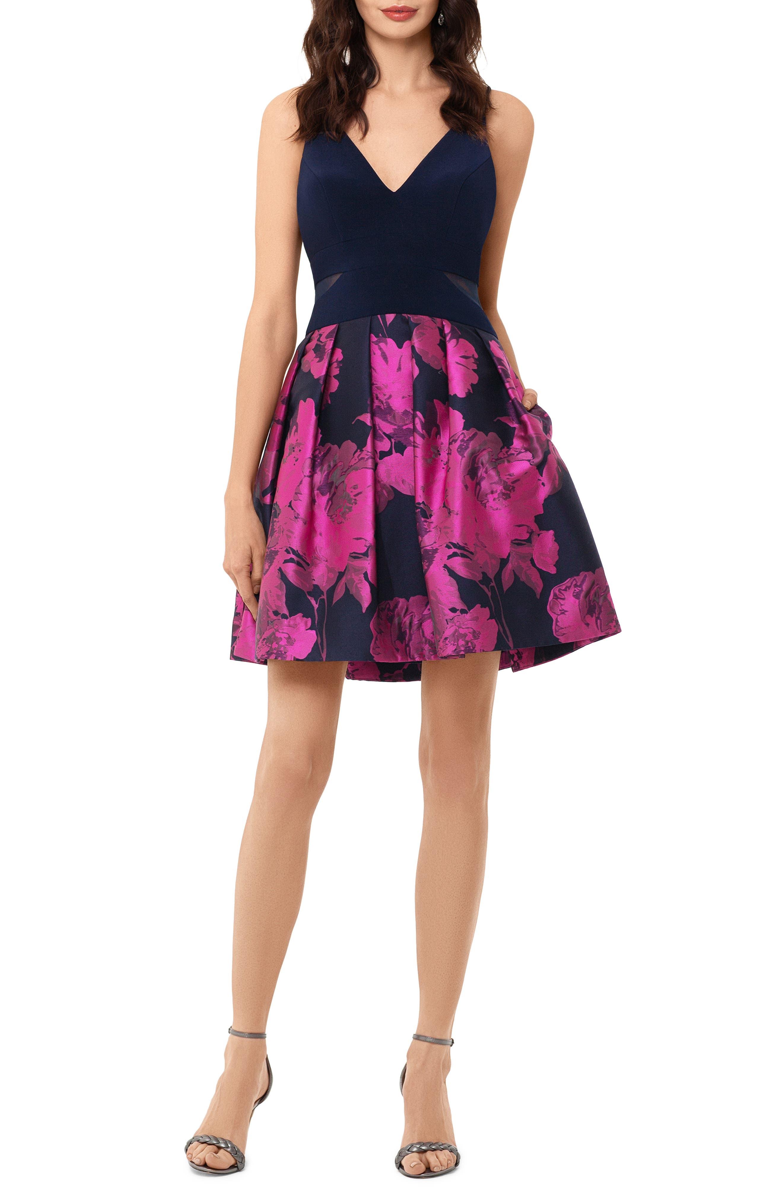 Xscape Deep-V Brocade Party Dress, Blue