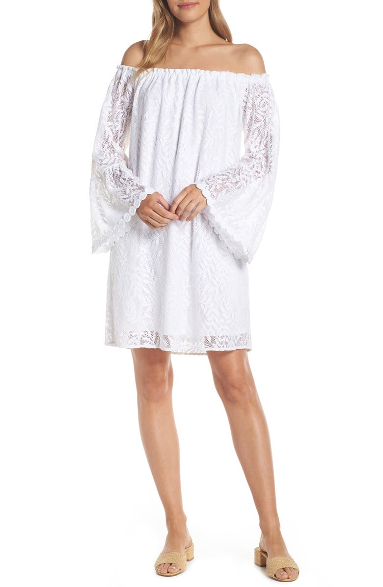 LILLY PULITZER<SUP>®</SUP> Lilly Pullitzer<sup>®</sup> Nevie Off the Shoulder Cover-Up Dress, Main, color, RESORT WHITE SWIRLING