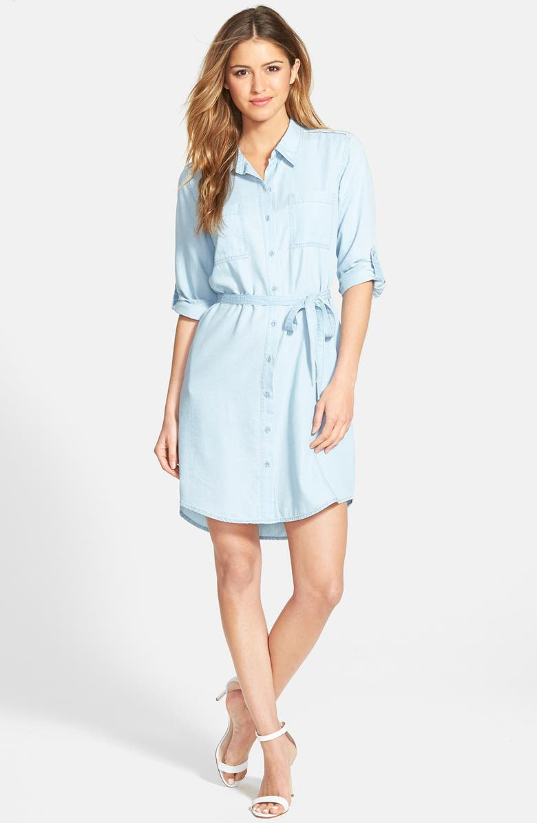 JESSICA SIMPSON Chambray Shirt Dress, Main, color, 402