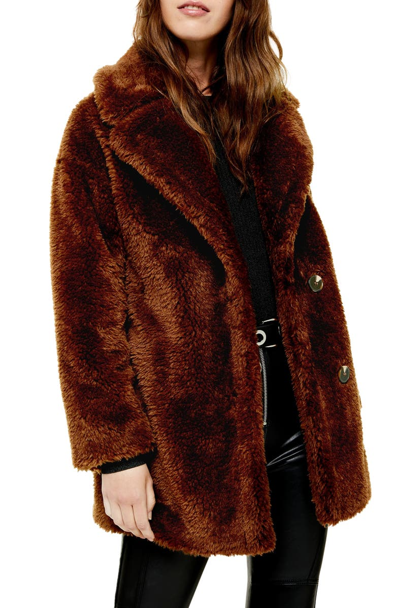TOPSHOP Faux Fur Coat, Main, color, DARK BROWN
