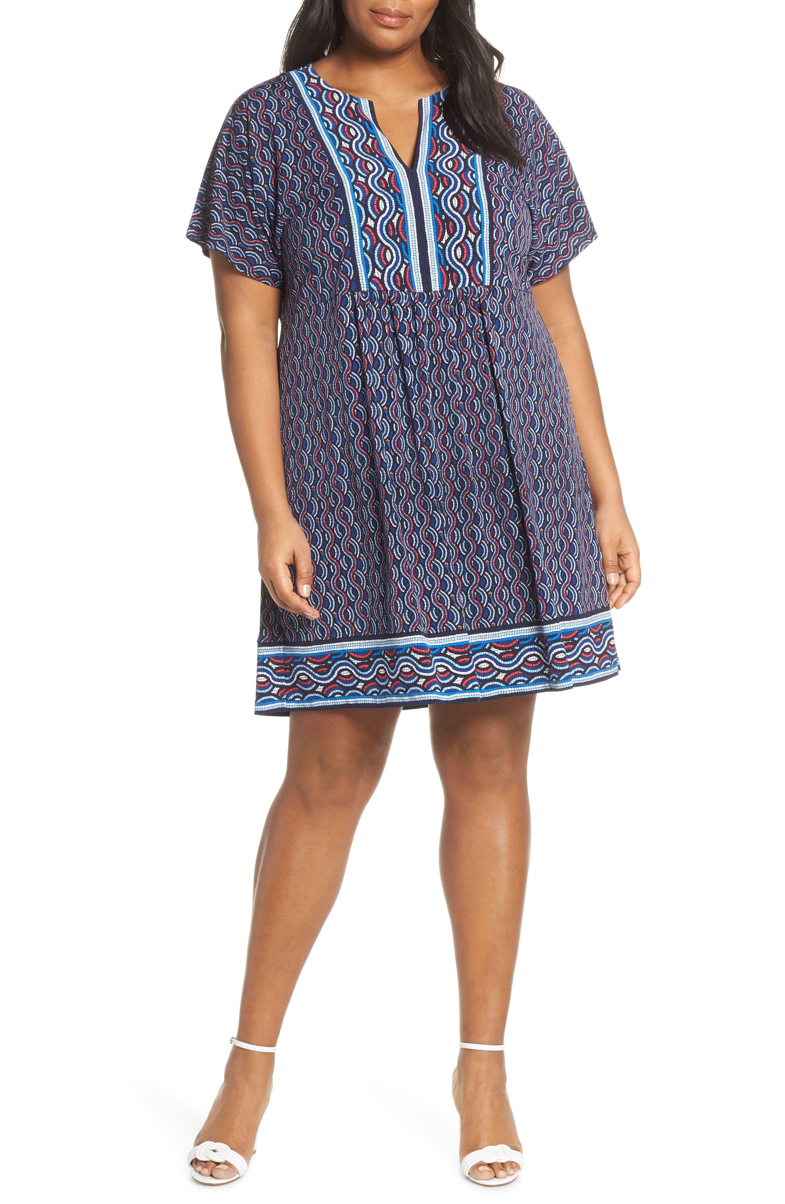 Plus Size Michael Michael Kors Mosaic Border Print Dress