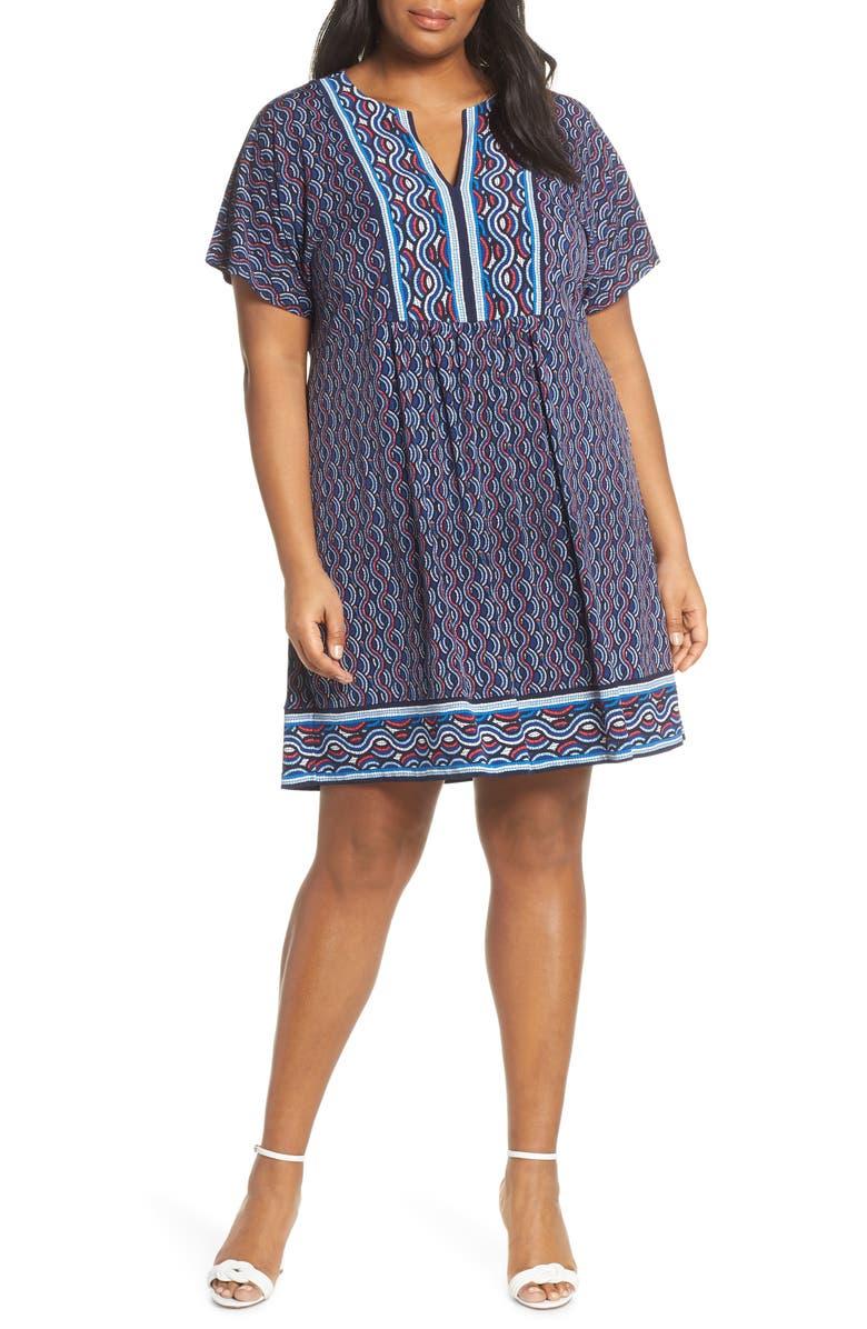 MICHAEL Michael Kors Mosaic Border Print Dress (Plus Size) | Nordstrom