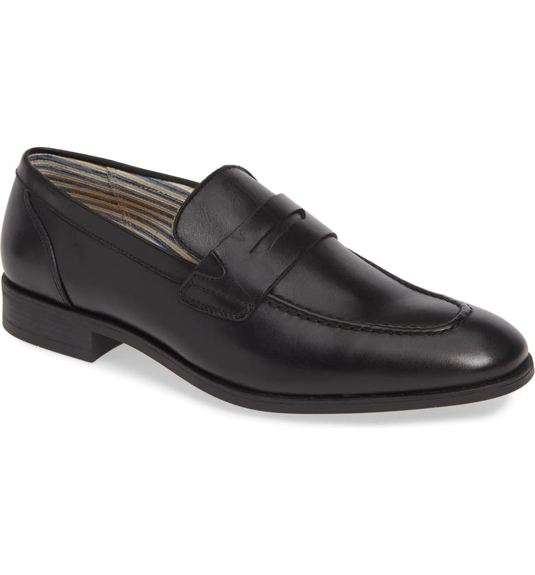 SUPPLY LAB Arthur Penny Loafer, Main, color, BLACK LEATHER