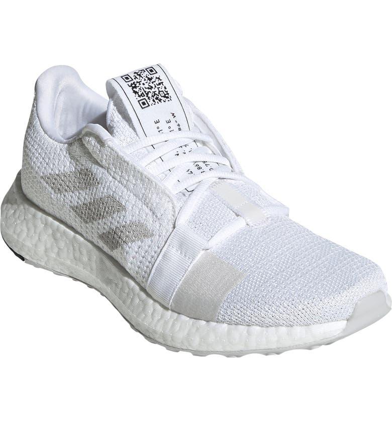 ADIDAS SenseBoost Go Running Shoe, Main, color, WHITE/ GREY/ CORE BLACK