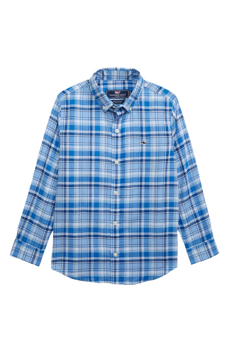 VINEYARD VINES Beach Tartan Plaid Whale Shirt, Main, color, HYDRANGEA