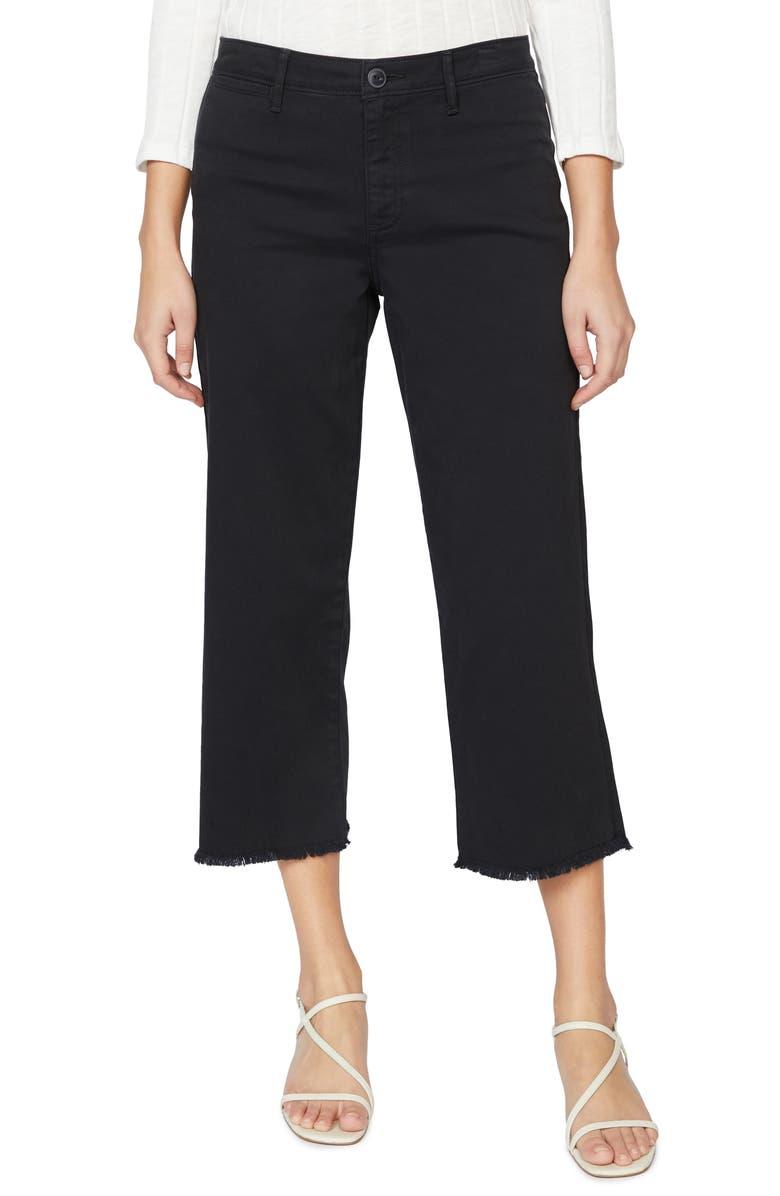 SANCTUARY Wide Leg Raw Hem Crop Pants, Main, color, 001