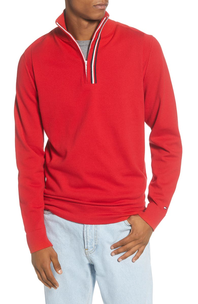 TOMMY HILFIGER Stripe Quarter Zip Sweater, Main, color, RED