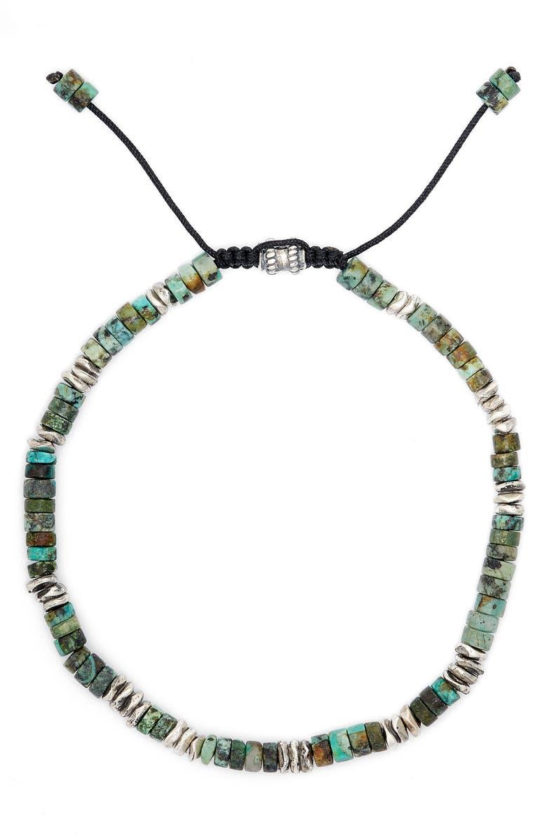 JONAS STUDIO Dakota Turquoise & Sterling Silver Adjustable Bracelet, Main, color, TURQUOISE