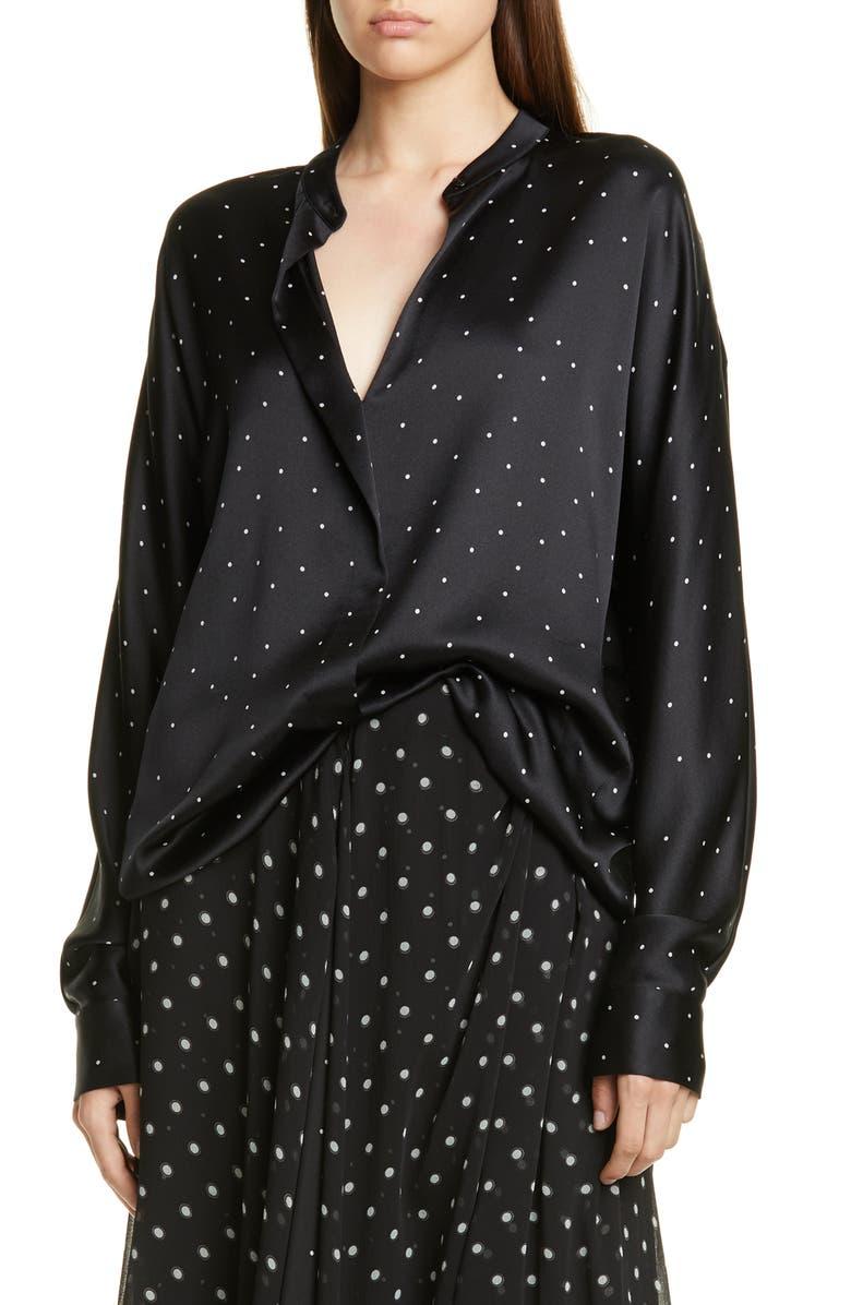 VINCE Dot Print Popover Silk Blouse, Main, color, BLACK