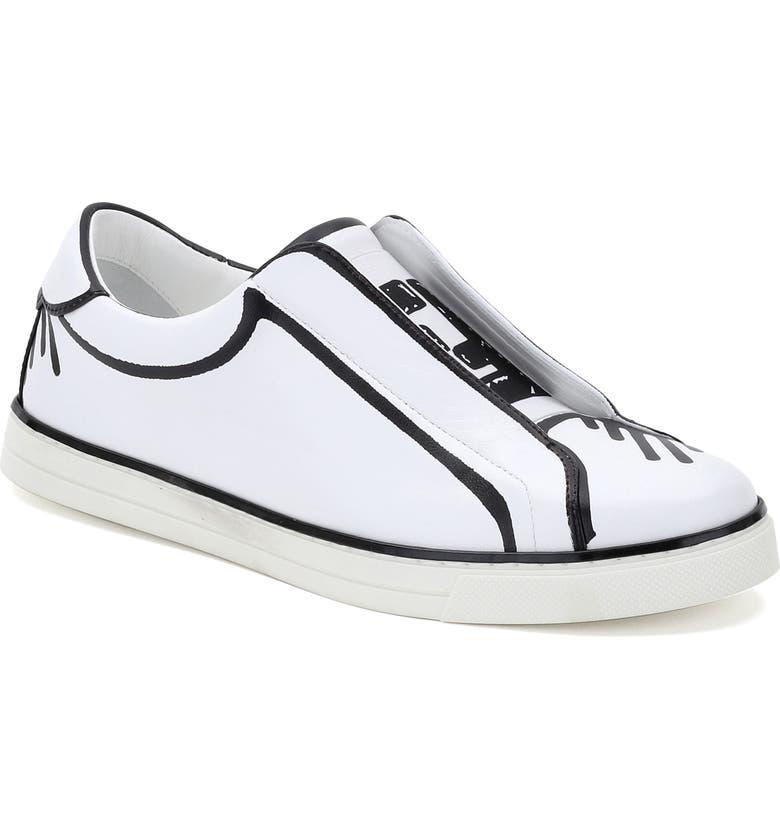 FENDI x Joshua Vides FF Logo Slip-On Sneaker, Main, color, WHITE