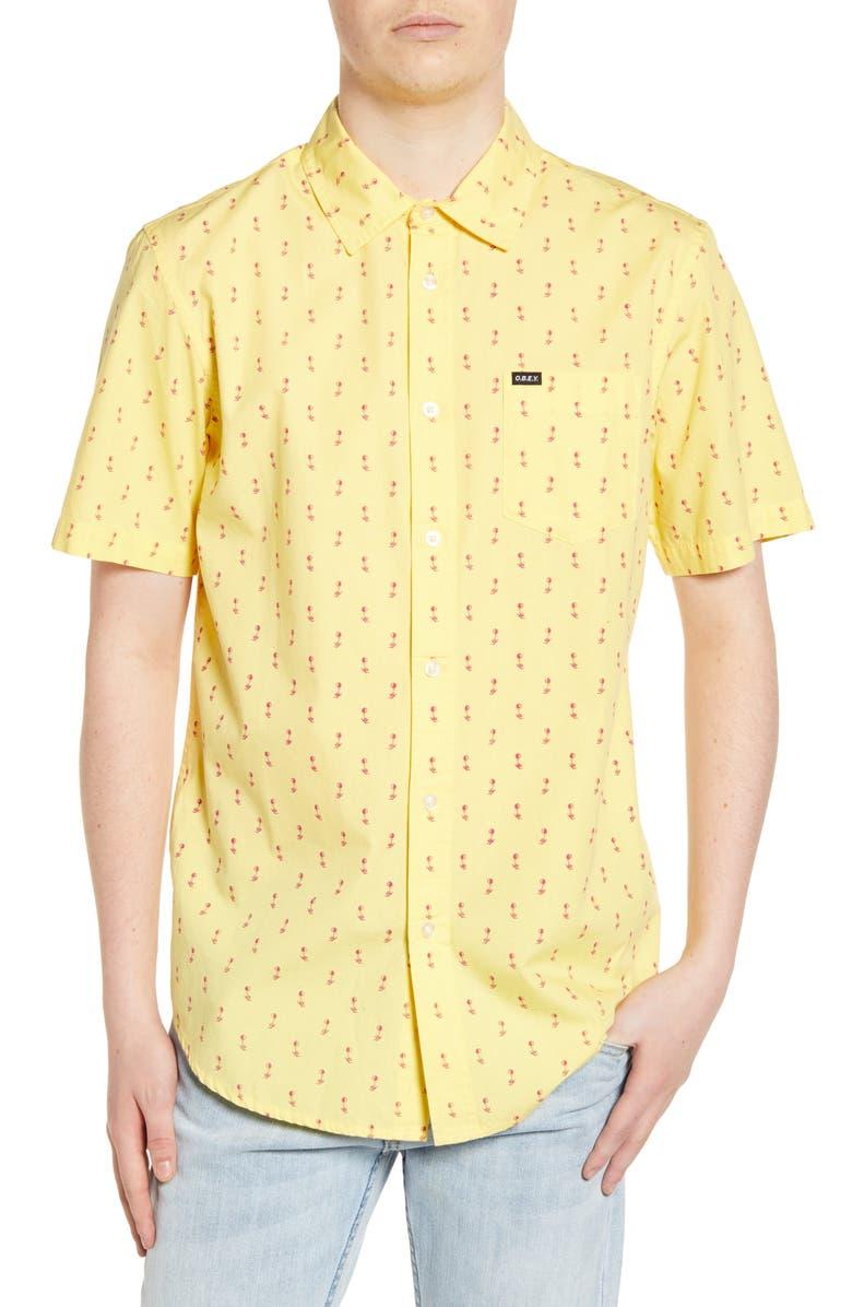 OBEY Ellis Print Poplin Shirt, Main, color, LEMON DROP MULTI