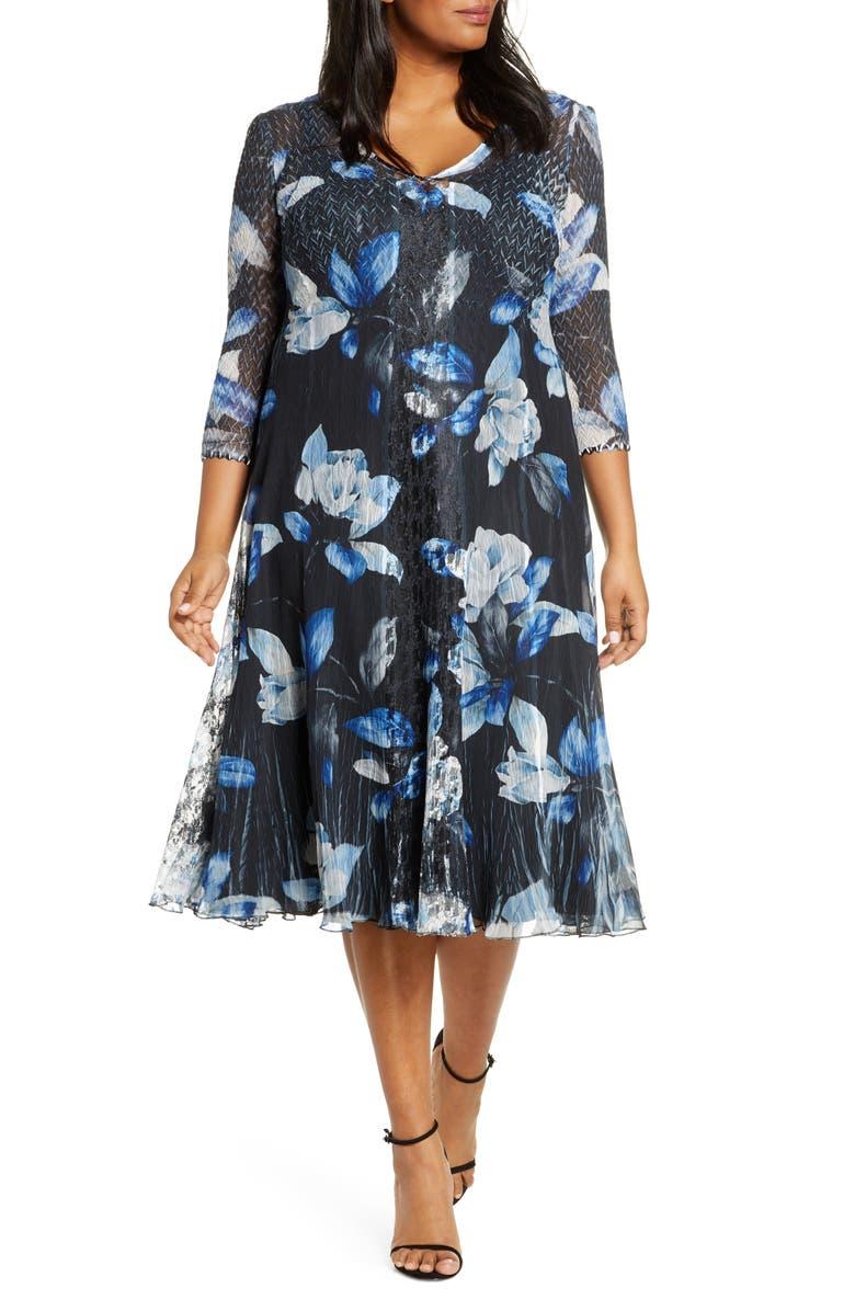 KOMAROV Floral Print Center Front Lace Dress, Main, color, MOONLIT PETAL