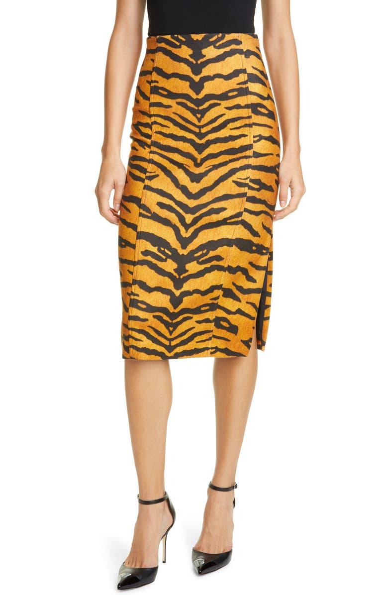 ADAM LIPPES Tiger Print Stretch Pencil Skirt, Main, color, 200