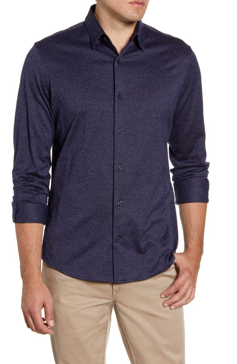 NORDSTROM MEN'S SHOP Regular Fit Jacquard Button-Up Knit Shirt, Main, color, NAVY BLAZER DOT