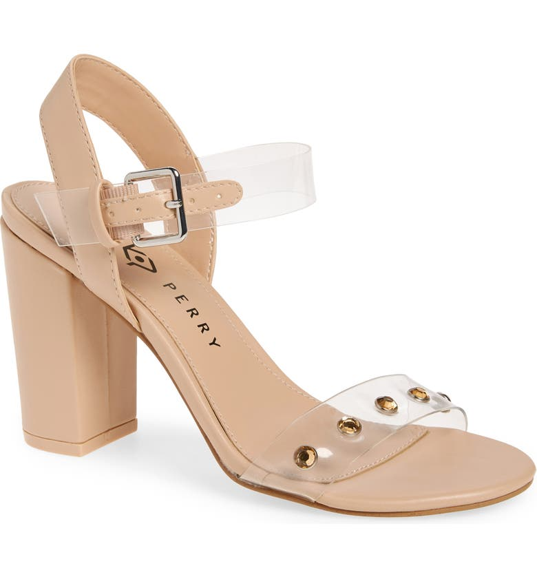 KATY PERRY Nina Embellished Clear Sandal, Main, color, NEW NUDE