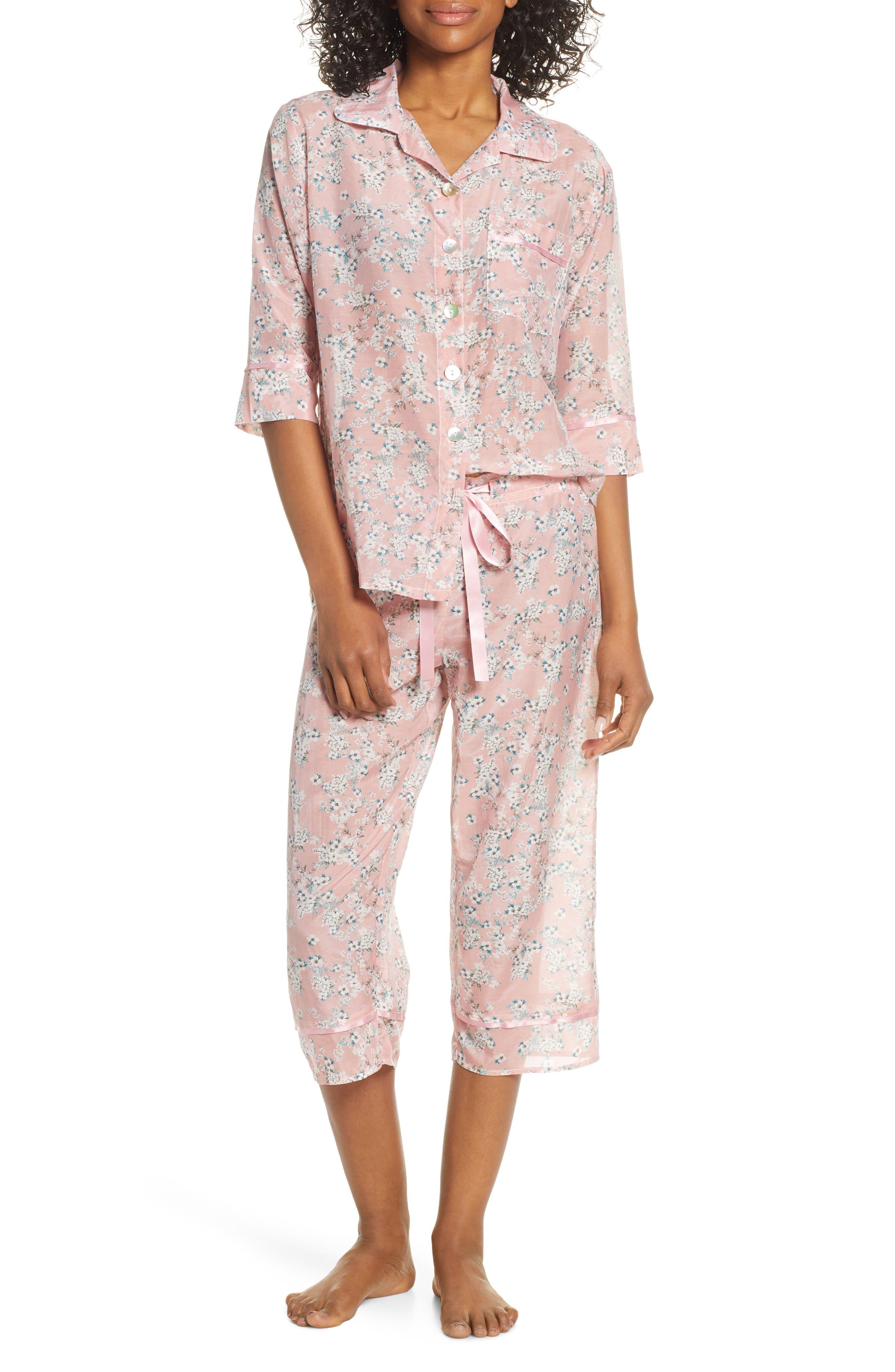 Isabelle Cotton & Silk Crop Pajamas, Main, color, DARK PINK
