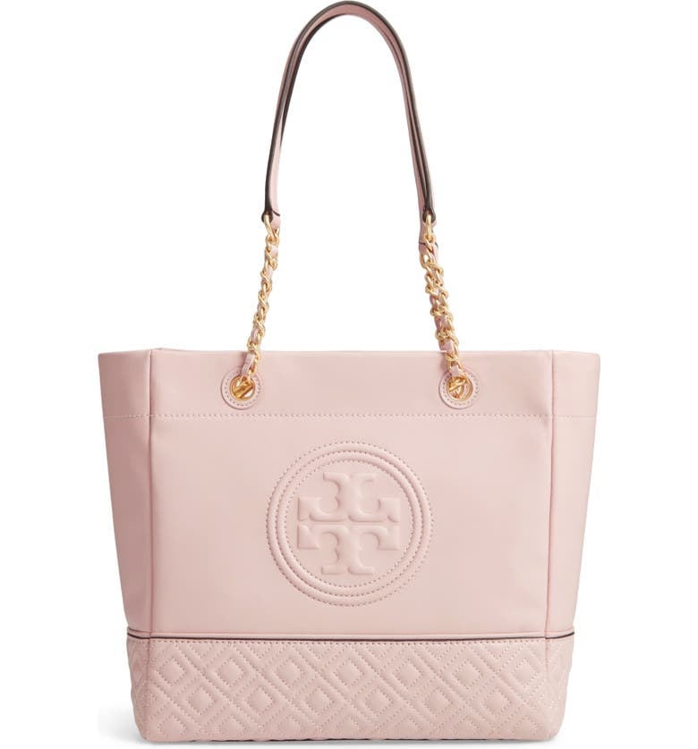 TORY BURCH Fleming Leather Tote, Main, color, SHELL PINK