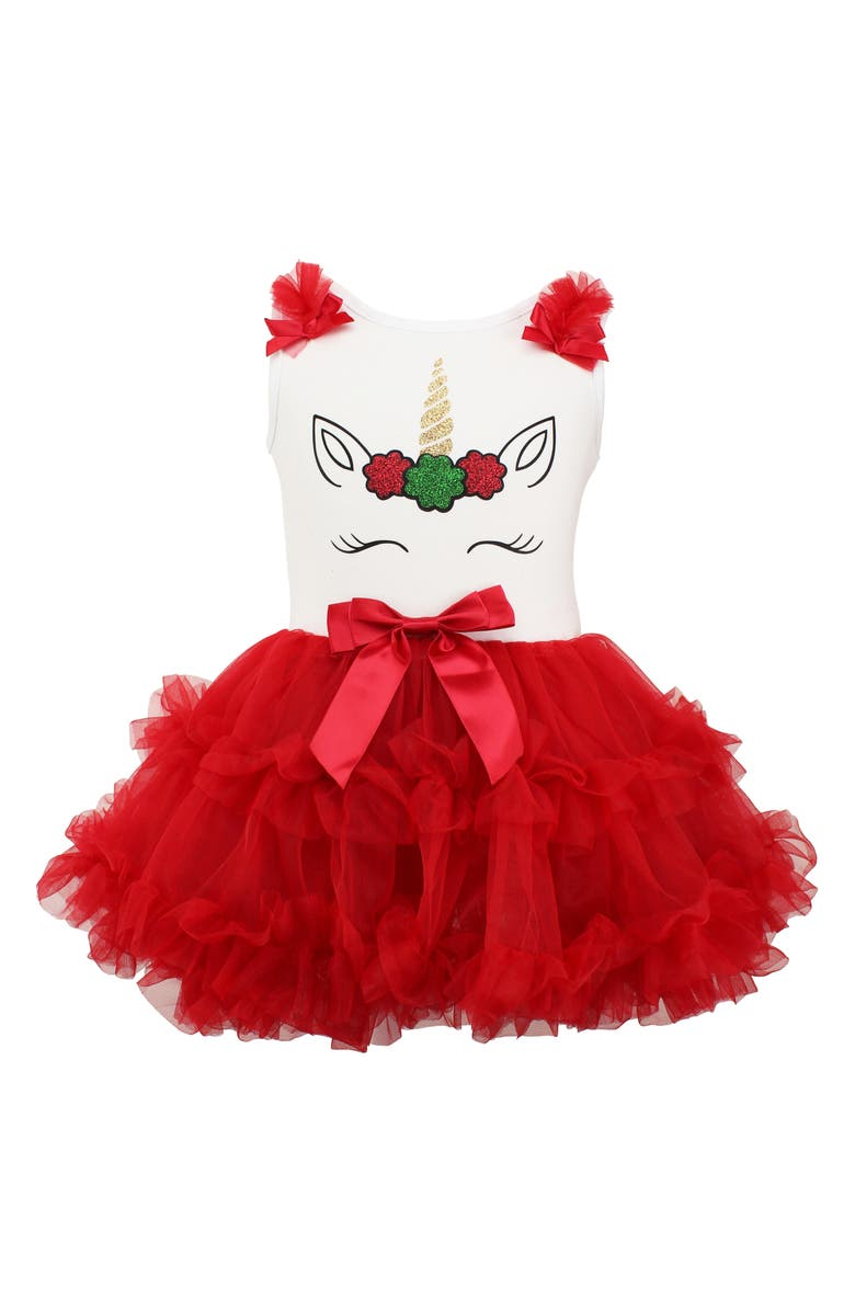 POPATU Christmas Unicorn Tutu Dress, Main, color, RED