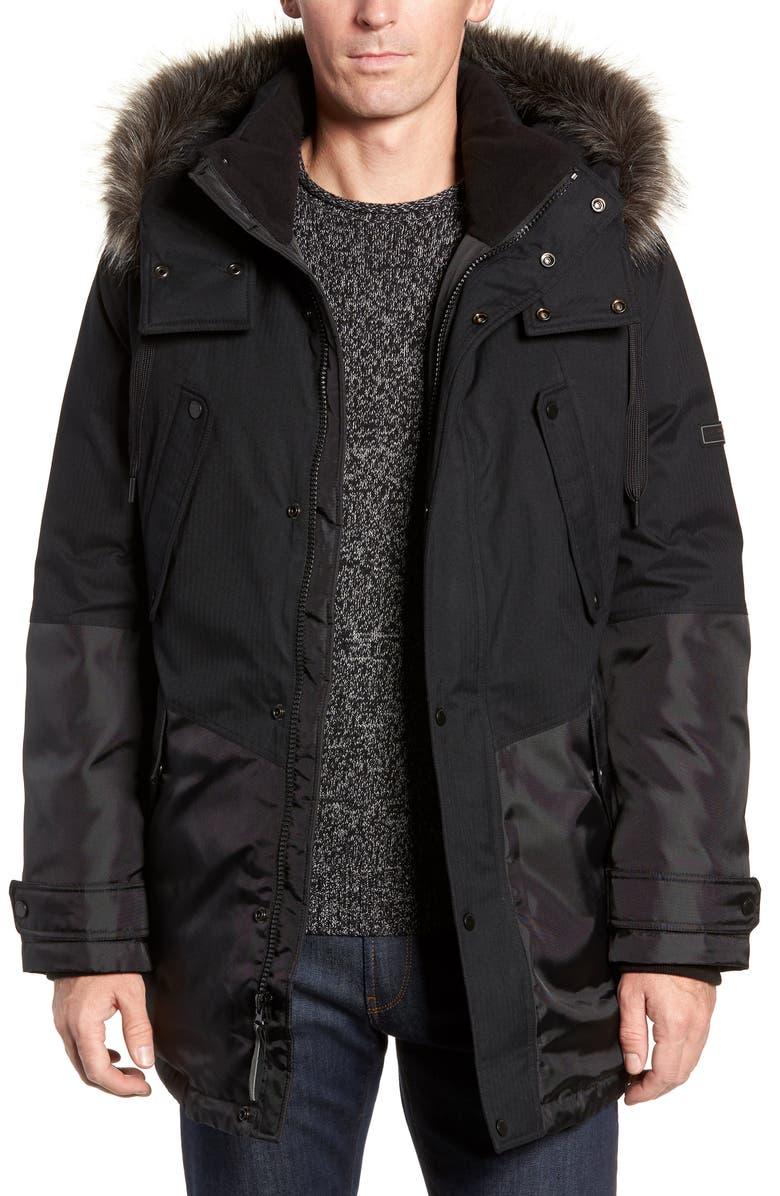 MARC NEW YORK Maxfield Faux Fur Trim Parka, Main, color, BLACK