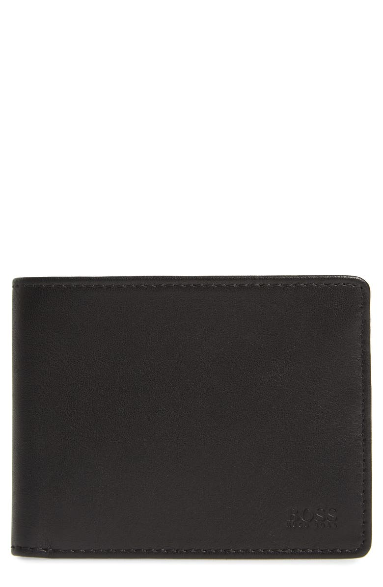 BOSS Majestic Leather Bifold Wallet, Main, color, BLACK