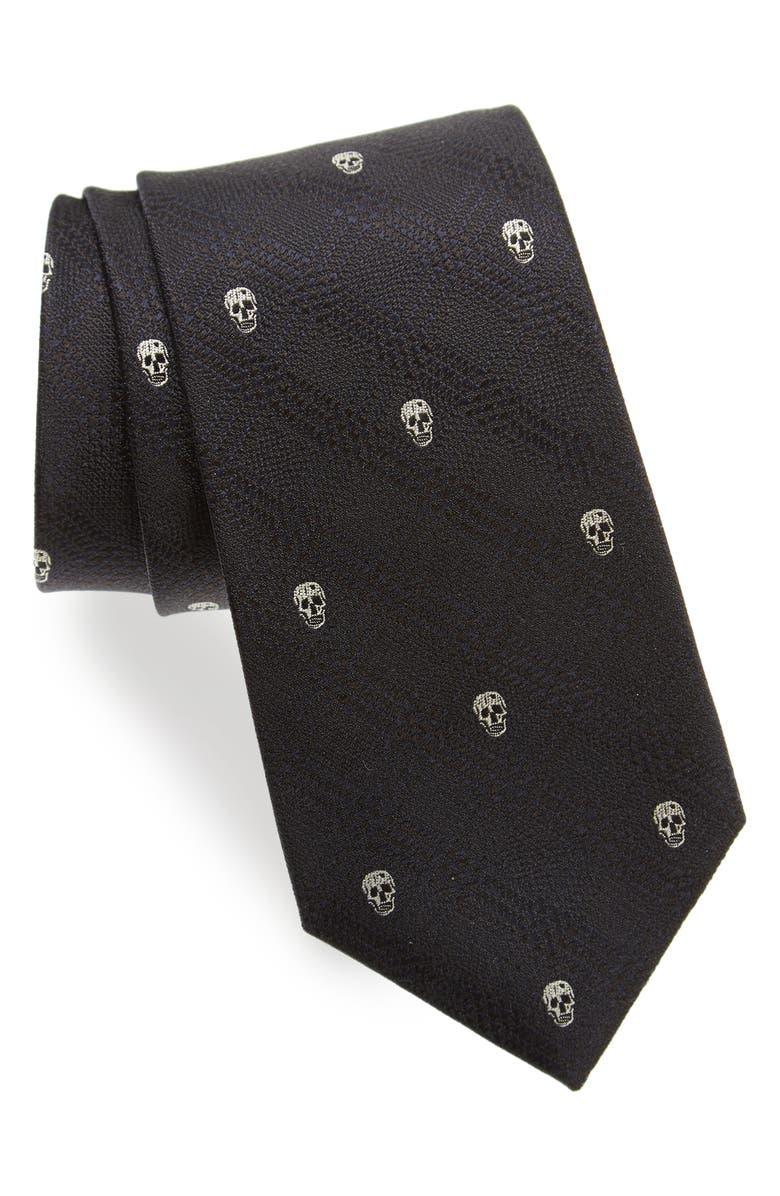 ALEXANDER MCQUEEN Woven Silk Tie, Main, color, 001