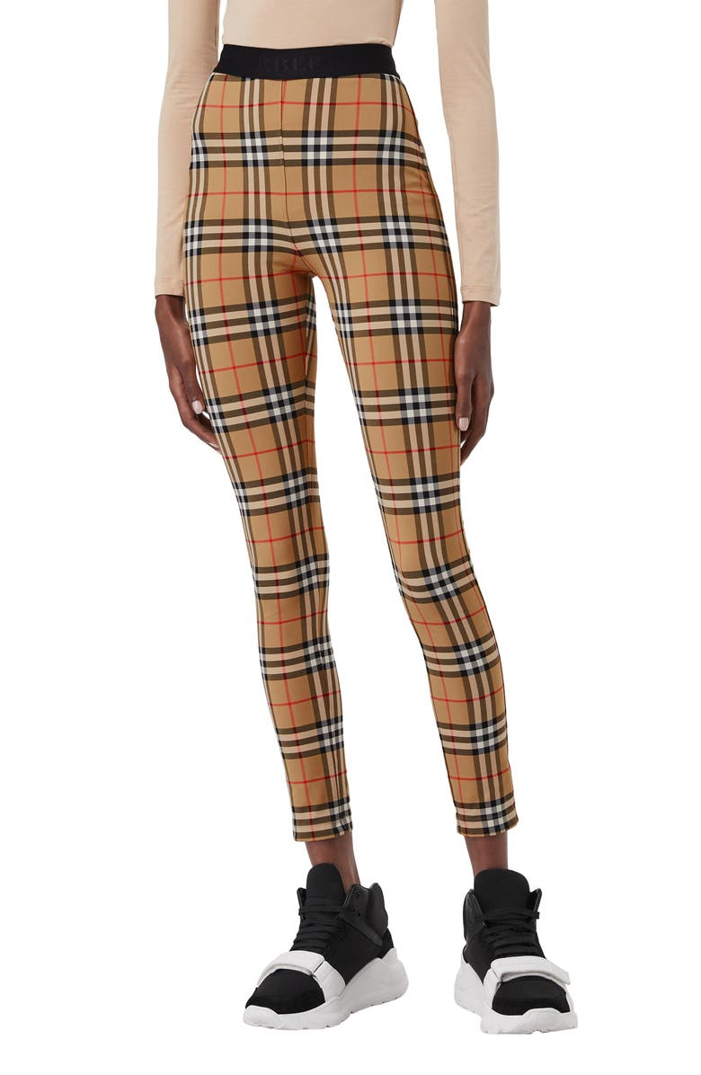 BURBERRY Belvoir Vintage Check Leggings, Main, color, ANTIQUE YELLOW CHK