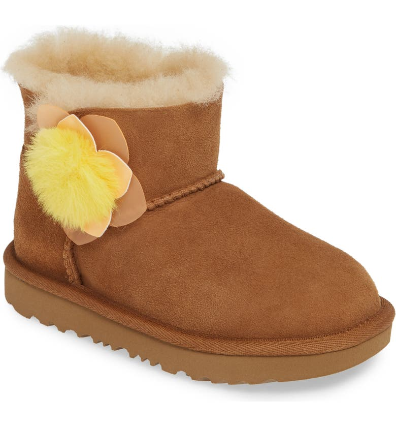 UGG<SUP>®</SUP> Mini Bailey II Cactus Flower Genuine Shearling Water Resistant Boot, Main, color, CHESTNUT/ CHESTNUT