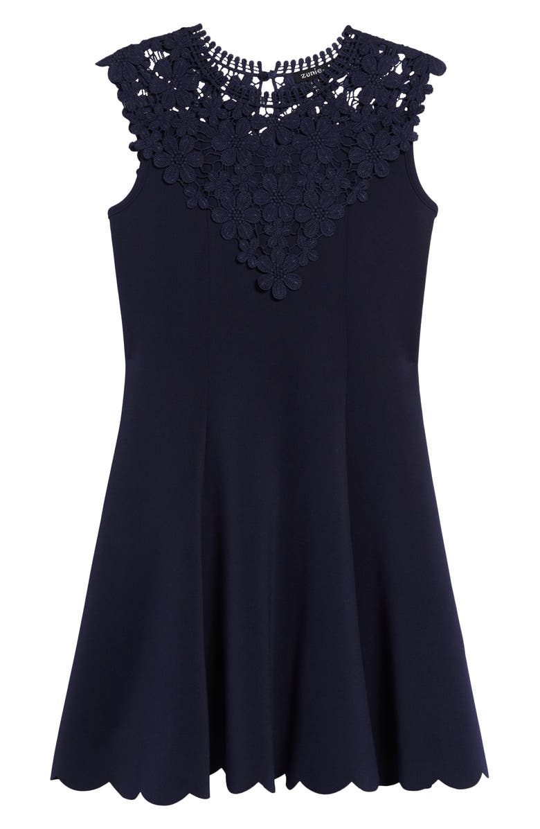 ZUNIE Embroidered Lace Fit & Flare Dress, Main, color, NAVY
