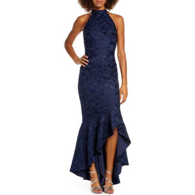 Chi Chi London Lucie Halter Neck High/low Evening Gown, Blue