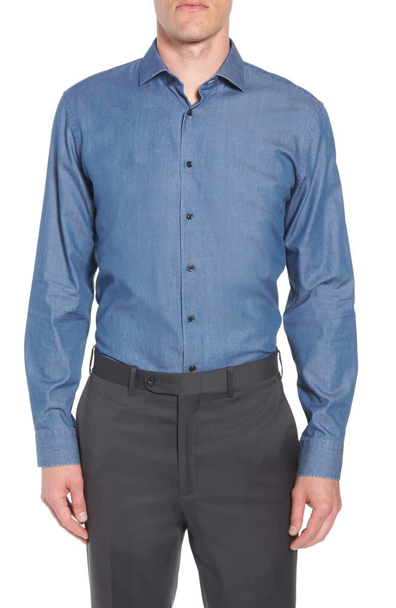 1901 Trim Fit Solid Denim Dress Shirt, Main, color, 420