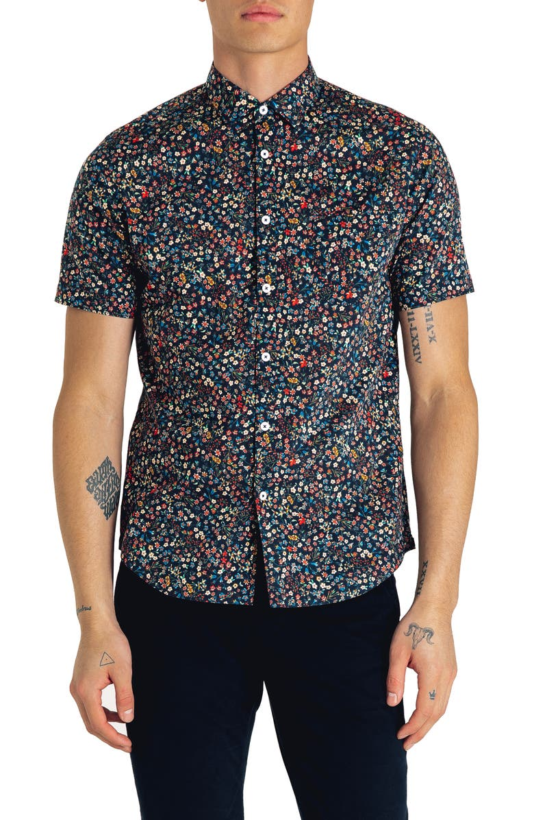 GOOD MAN BRAND Kensington Slim Fit Floral Print Cotton Shirt, Main, color, NAVY