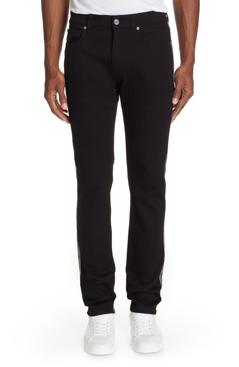VERSACE Logo Tape Slim Fit Jeans, Main, color, BLACK