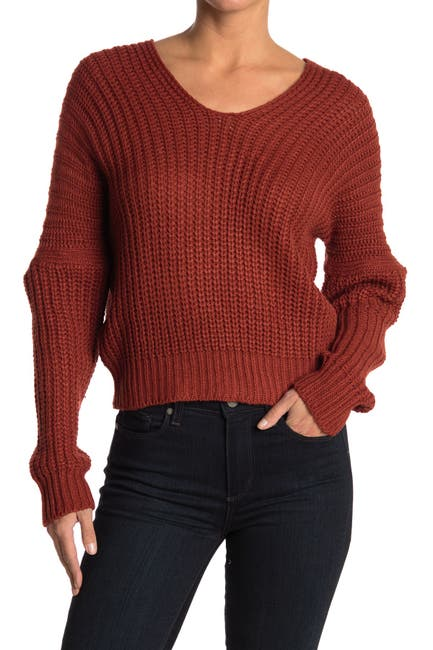 Image of Poof V-Neck Knit Sweater