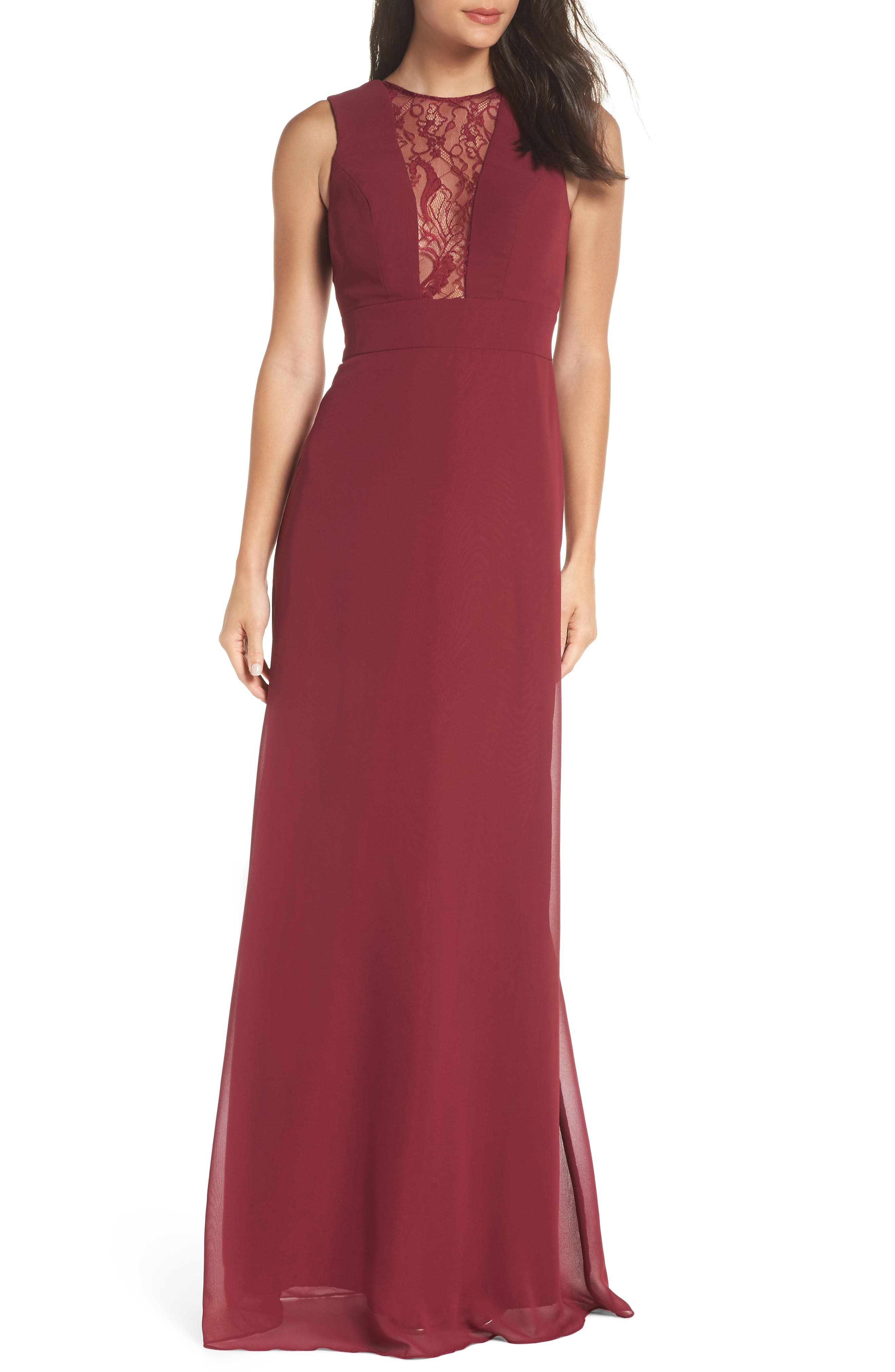 Hayley Paige Occasions Lace Inset Chiffon Gown, Burgundy