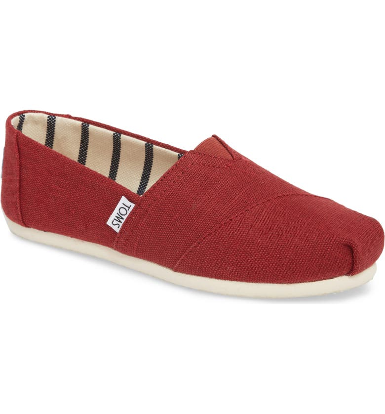 TOMS Alpargata Slip-On, Main, color, BLACK CHERRY HERITAGE CANVAS