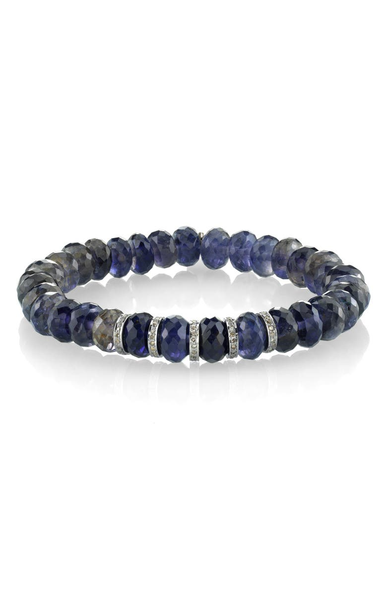 SHERYL LOWE 5-Rondelle Iolite & Diamond Bracelet, Main, color, IOLITE