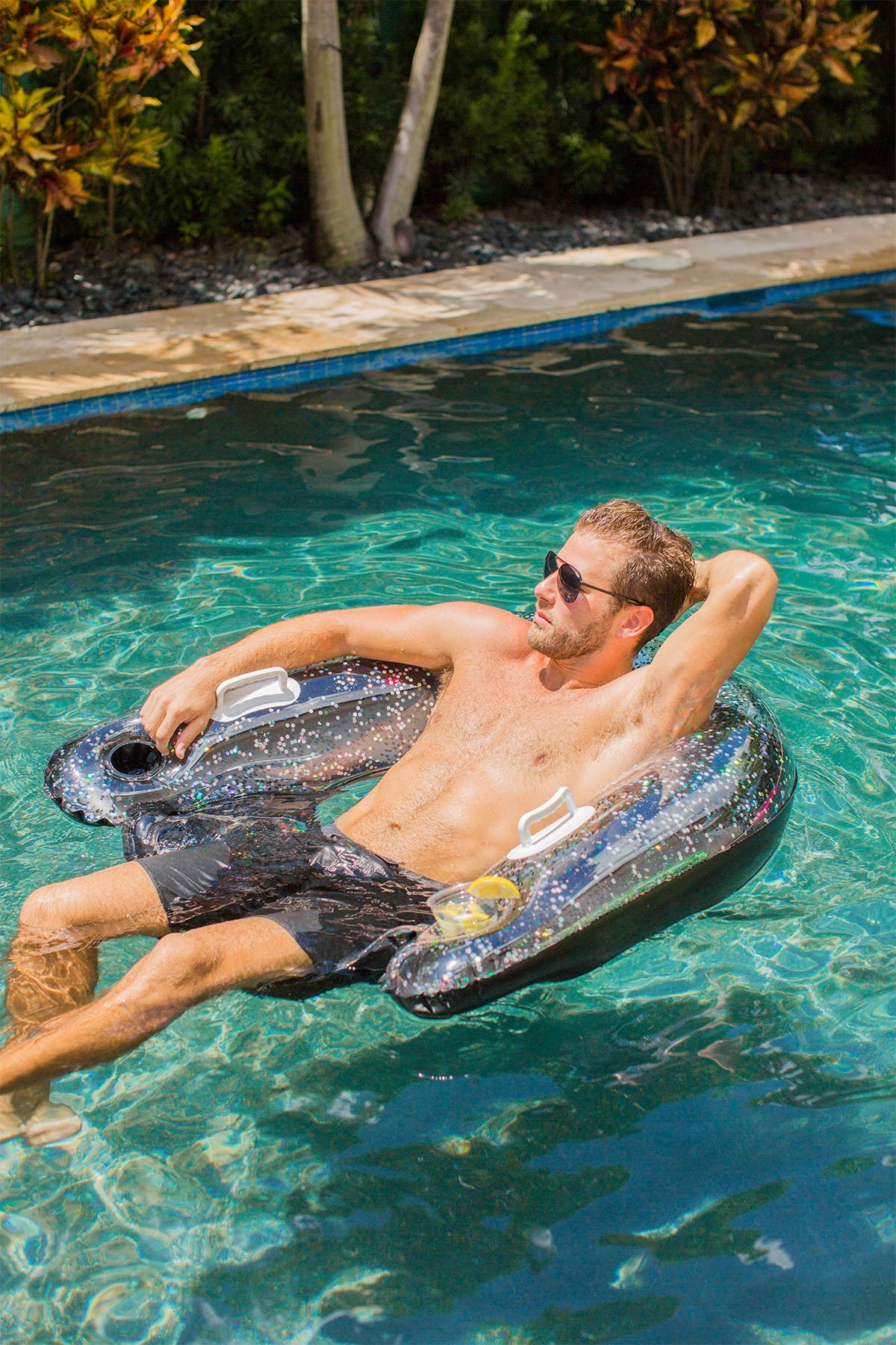 Glitterfied Beach /& Swimming Pool Float with Cup Holders Poolcandy Black Glitter Sun Chair The Ultimate Chair in The Sun.