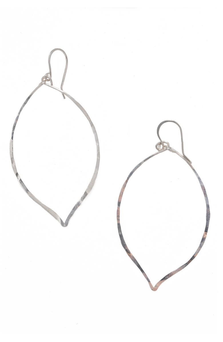 TERESSA LANE JEWELRY Lotus Hammered Sterling Silver Earrings, Main, color, SILVER