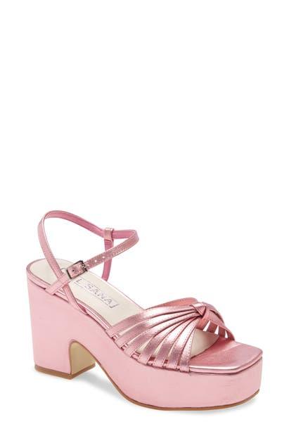 Sol Sana Rosy Platform Sandal In Pink Metallic Leather