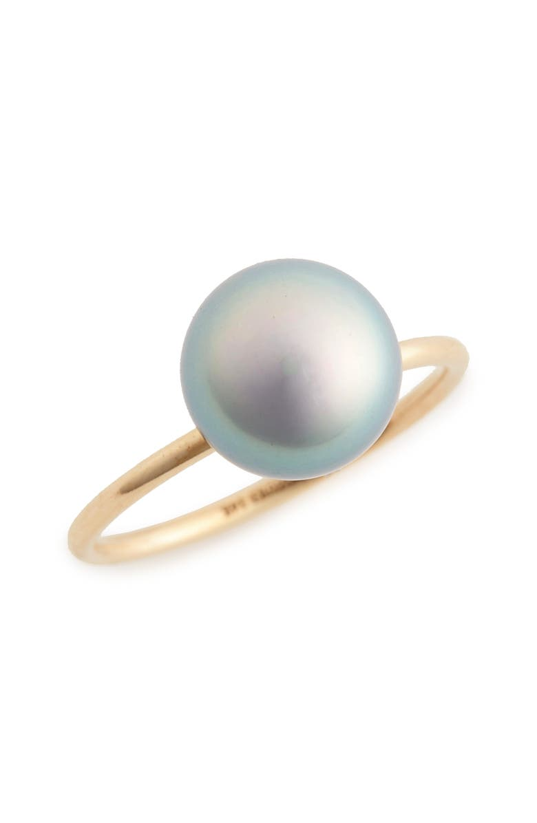 MIZUKI Sea of Beauty Keshi Pearl Ring, Main, color, YELLOW GOLD/ BLACK PEARL