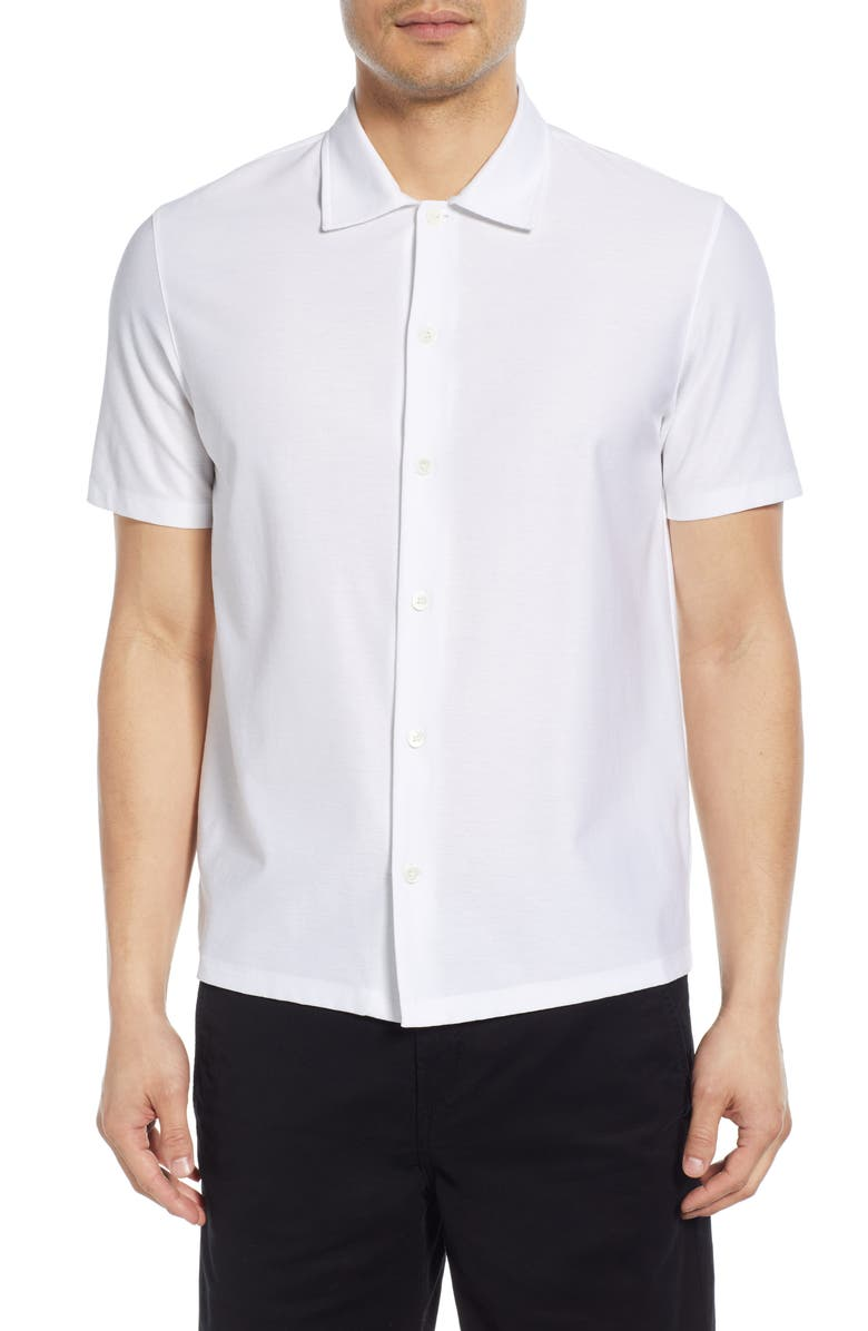 THEORY Isak Short Sleeve Button Up Knit Shirt, Main, color, WHITE