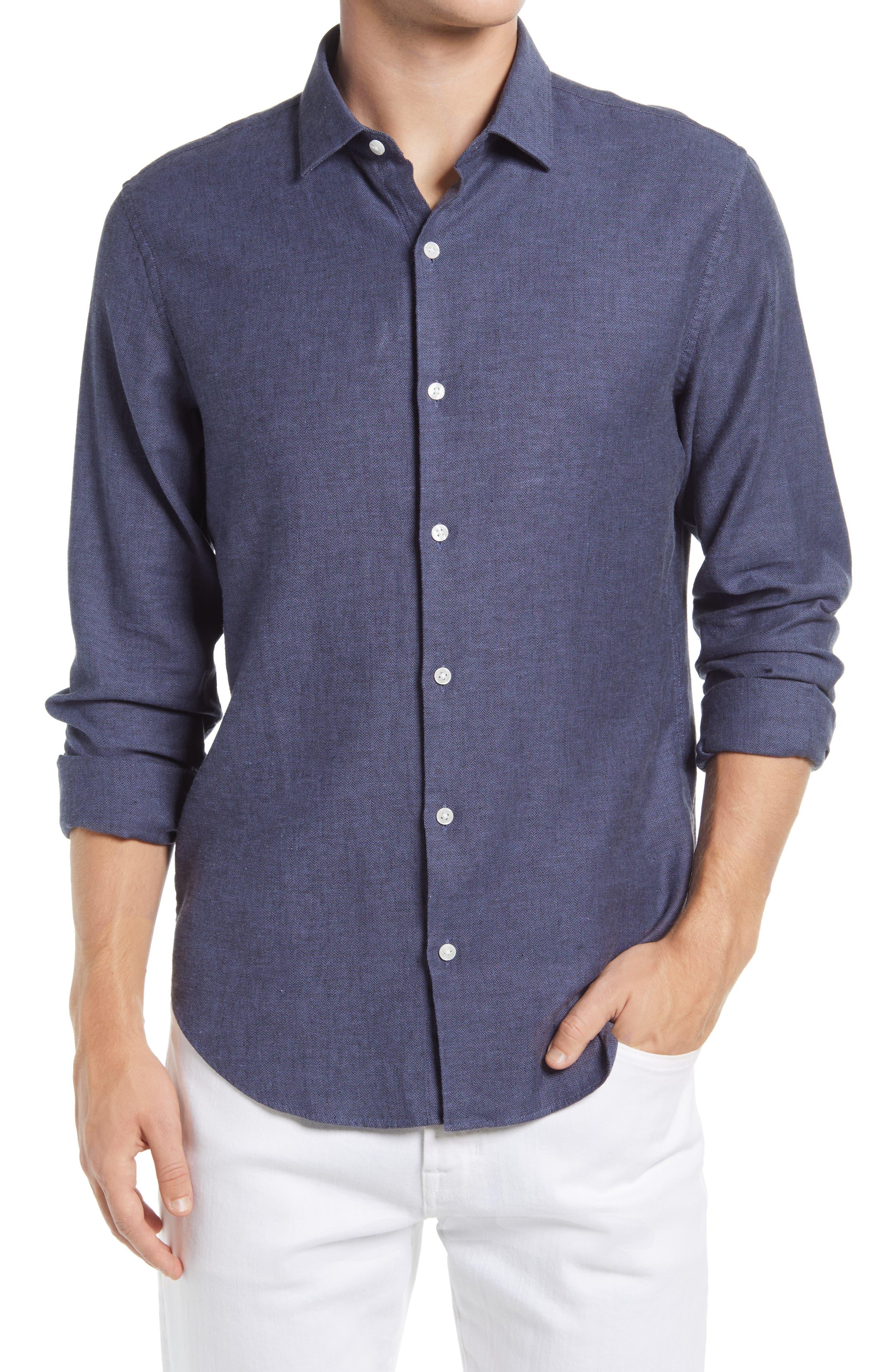 Slim Fit Stretch Linen & Cotton Button-Up Shirt