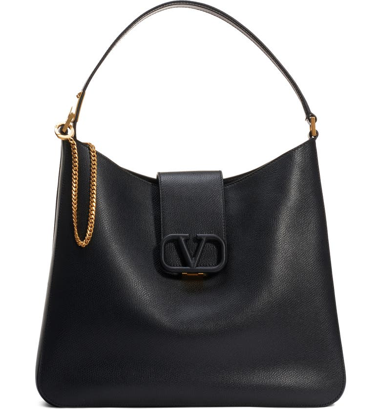 VALENTINO GARAVANI VSling Calfskin Hobo Bag, Main, color, NERO/ RUBIN