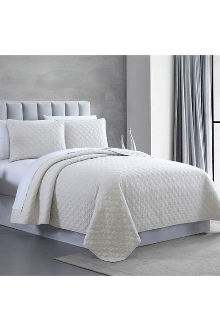 Image of Modern Threads Queen Enzyme Washed Diamond Link Quilted Coverlet 3-Piece Set - White