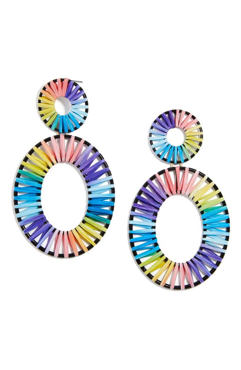 BAUBLEBAR Kiera Raffia Drop Earrings, Main, color, PASTEL MULTI/ BLACK