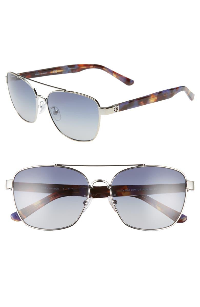 TORY BURCH 57mm Gradient Navigator Sunglasses, Main, color, 040