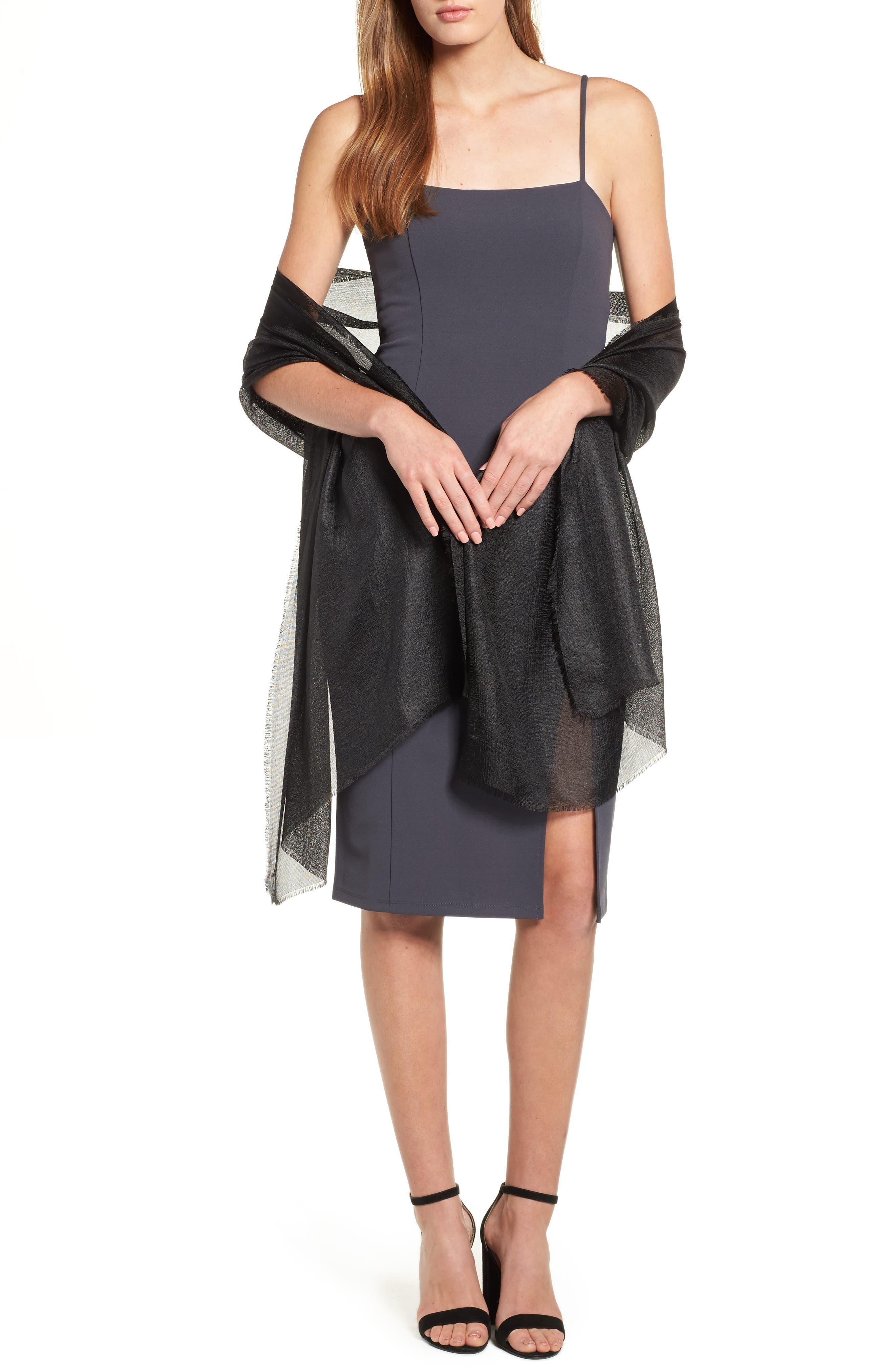 Shimmer Wrap, Main, color, BLACK